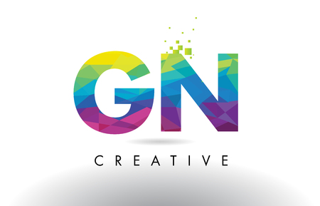 GN G N Colorful Letter Design with Creative Origami Triangles Rainbow Vector.