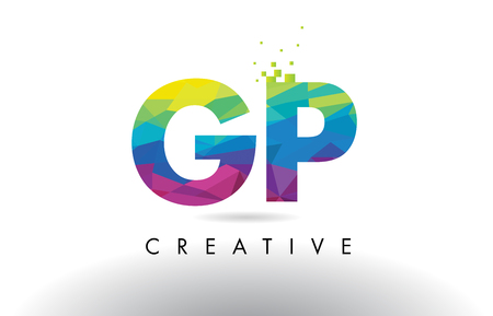 GP G P Colorful Letter Design with Creative Origami Triangles Rainbow Vector.
