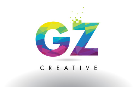 identidad personal: GZ G Z Colorful Letter Design with Creative Origami Triangles Rainbow Vector. Vectores