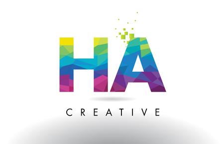 HA H A Colorful Letter Design with Creative Origami Triangles Rainbow Vector.