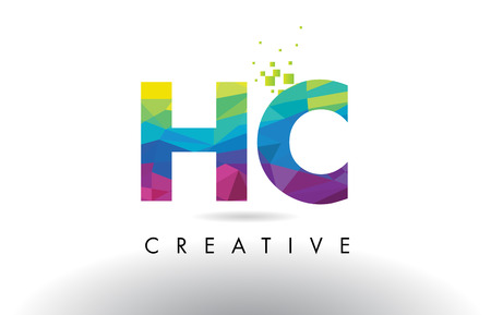 HC H C Colorful Letter Design with Creative Origami Triangles Rainbow Vector. Illustration