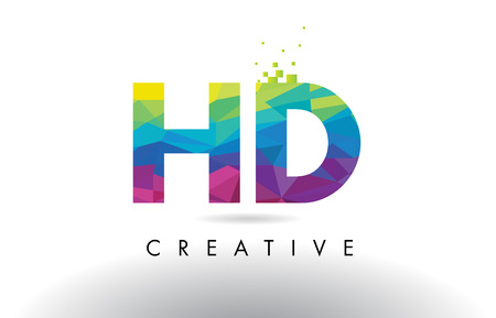 HD H D Colorful Letter Design with Creative Origami Triangles Rainbow Vector.