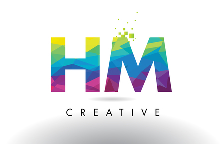 HM H M Colorful Letter Design with Creative Origami Triangles Rainbow Vector. Ilustração