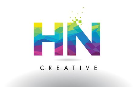 hn: HN H N Colorful Letter Design with Creative Origami Triangles Rainbow Vector. Illustration