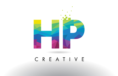 HP H P Colorful Letter Design with Creative Origami Triangles Rainbow Vector.