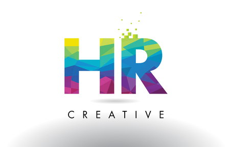 HR H R Colorful Letter Design with Creative Origami Triangles Rainbow Vector.