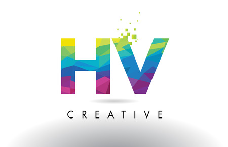 HV H V Colorful Letter Design with Creative Origami Triangles Rainbow Vector.