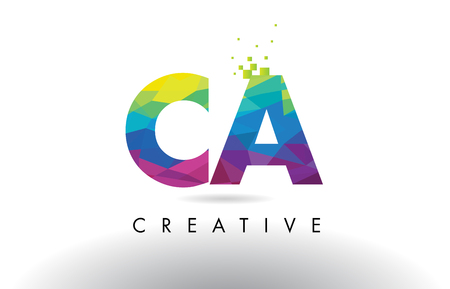 CA C A Colorful Letter Design with Creative Origami Triangles Rainbow Vector. Illustration