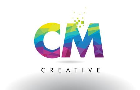 創造的な折り紙の三角形の虹ベクトルとカラフルな文字デザインの CM C M。  イラスト・ベクター素材
