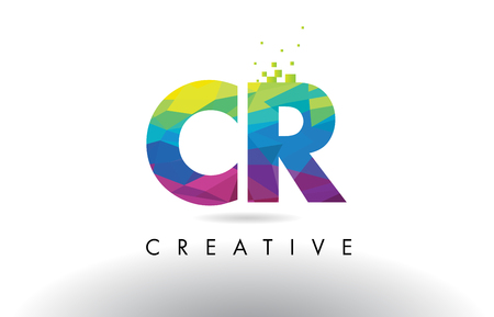 CR C R Colorful Letter Design with Creative Origami Triangles Rainbow Vector. Vektoros illusztráció