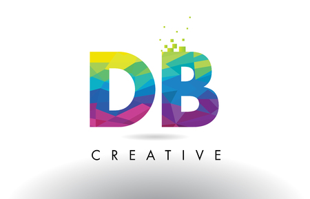 DB D B Colorful Letter Design with Creative Origami Triangles Rainbow Vector.