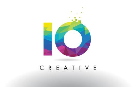 IO I O Colorful Letter Design with Creative Origami Triangles Rainbow Vector. Illustration
