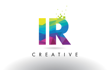 IR I R Colorful Letter Design with Creative Origami Triangles Rainbow Vector.