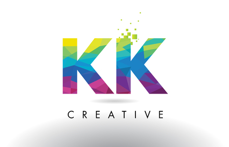 KK K K Colorful Letter Design with Creative Origami Triangles Rainbow Vector.