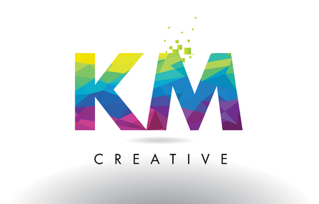 KM K M Colorful Letter Design with Creative Origami Triangles Rainbow Vector.