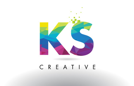 KS K S Colorful Letter Design with Creative Origami Triangles Rainbow Vector. Ilustrace