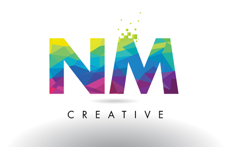 NM N M Colorful Letter Design with Creative Origami Triangles Rainbow Vector. Illustration