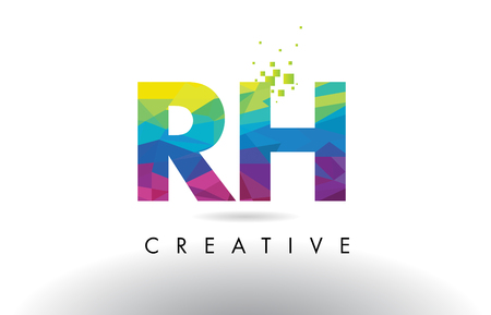 rh: RH R H Colorful Letter Design with Creative Origami Triangles Rainbow Vector. Illustration