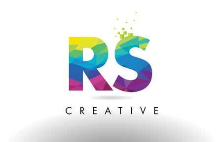 RS R S Colorful Letter Design with Creative Origami Triangles Rainbow Vector. Vektoros illusztráció