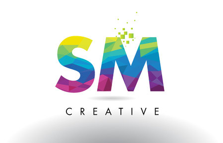 SM S M Colorful Letter Design with Creative Origami Triangles Rainbow Vector.