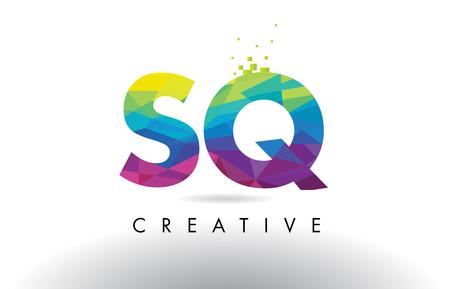 SQ S Q Colorful Letter Design with Creative Origami Triangles Rainbow Vector. Vektoros illusztráció