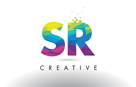 SR S R Colorful Letter Design with Creative Origami Triangles Rainbow Vector.