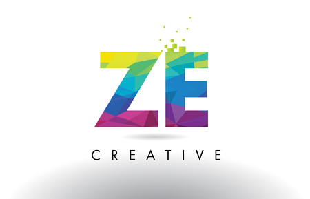 ze: ZE Z E Colorful Letter Design with Creative Origami Triangles Rainbow Vector.