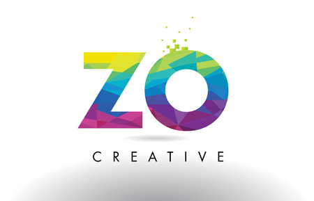 identidad personal: ZO Z O Colorful Letter Design with Creative Origami Triangles Rainbow Vector. Vectores