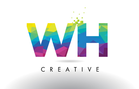 WH W H Colorful Letter Design with Creative Origami Triangles Rainbow Vector.