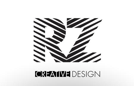 RZ R Z Lines Letter Design with Creative Elegant Zebra Vector Illustration. Vektoros illusztráció