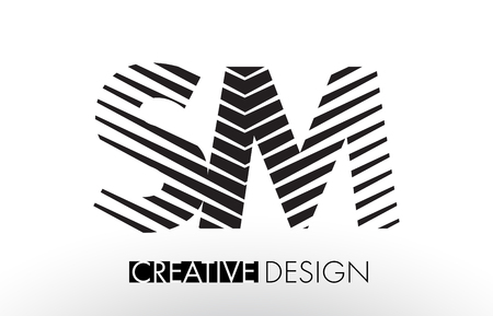 SM S M Lines Letter Design with Creative Elegant Zebra Vector Illustration. Ilustrace