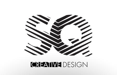 SQ S Q Lines Letter Design with Creative Elegant Zebra Vector Illustration.