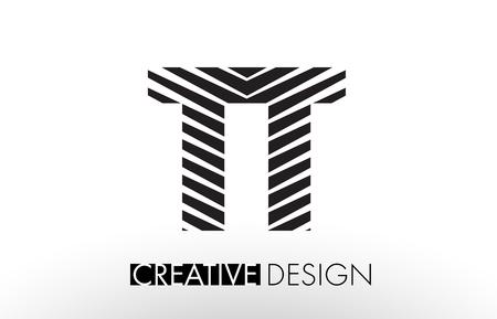 TT T Lines Letter Design with Creative Elegant Zebra Vector Illustration.