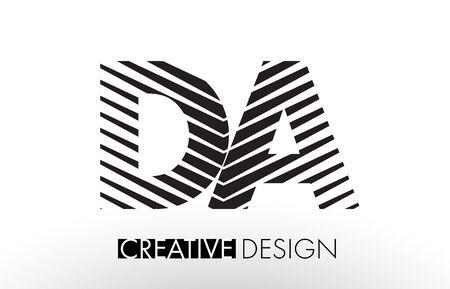 DA D A Lines Letter Design with Creative Elegant Zebra Vector Illustration. Stock Photo