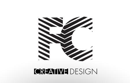 F C Lines Letter Design with Creative Elegant Zebra Vector Illustration.