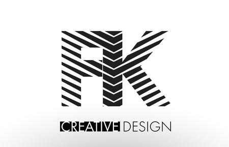 F K Lines Letter Design with Creative Elegant Zebra Vector Illustration.