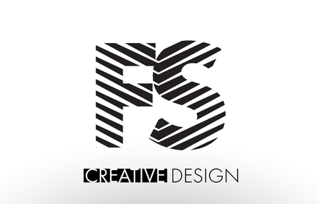 FS F S Lines Letter Design with Creative Elegant Zebra Vector Illustration.