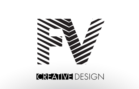 fv: FV F V Lines Letter Design with Creative Elegant Zebra Vector Illustration.