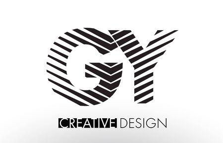 G Y Lines Letter Design with Creative Elegant Zebra Vector Illustration.