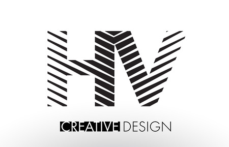 HV H V Lines Letter Design with Creative Elegant Zebra Vector Illustration. Vektoros illusztráció
