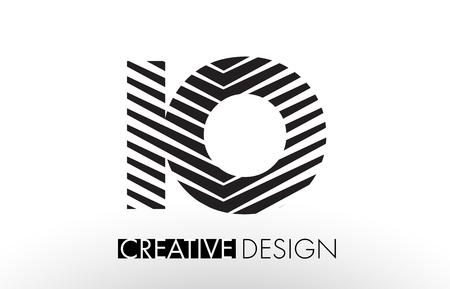 IO I O Lines Letter Design with Creative Elegant Zebra Vector Illustration. Illustration