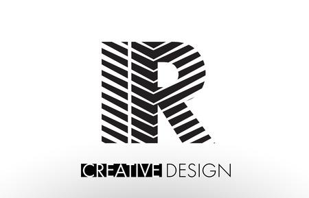 IR I R Lines Letter Design with Creative Elegant Zebra Vector Illustration.
