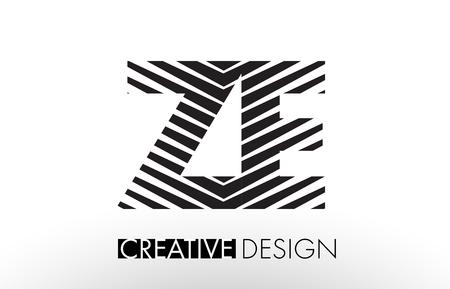 ze: ZE Z E Lines Letter Design with Creative Elegant Zebra Vector Illustration.