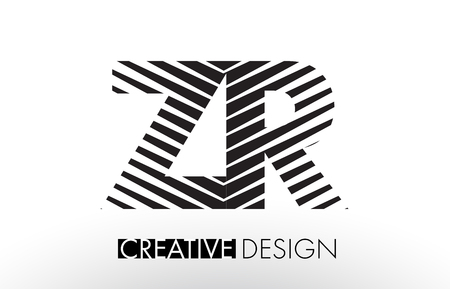 ZR Z R Lines Letter Design with Creative Elegant Zebra Vector Illustration.