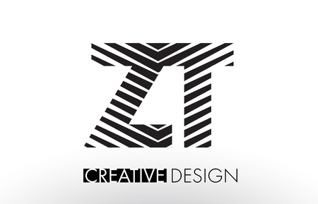 ZT ZT, Yaratıcı Zarif Zebra Vektörel İllüstrasyon ile Mektup Tasarımı Hatları. Çizim