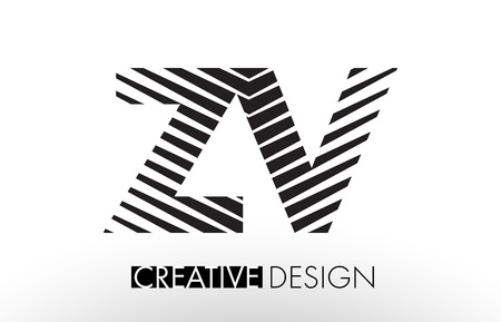 ZV Z V Lines Letter Design with Creative Elegant Zebra Vector Illustration.