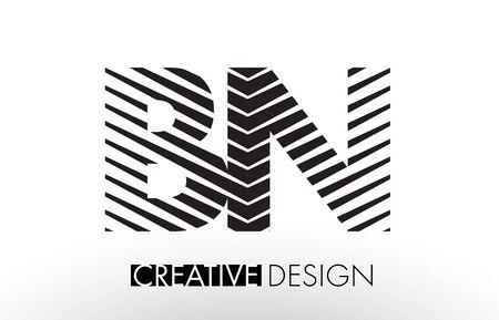 BN B N Lines Letter Design with Creative Elegant Zebra Vector Illustration.