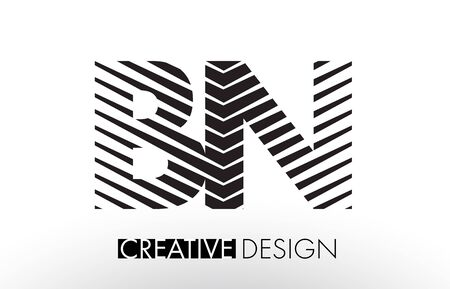 bn: BN B N Lines Letter Design with Creative Elegant Zebra Vector Illustration. Illustration
