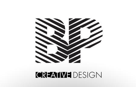 B P Lines Letter Design with Creative Elegant Zebra Vector Illustration.