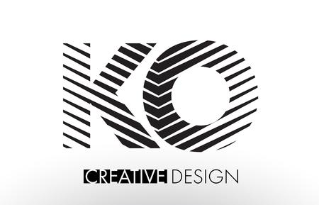 ko: KO K O Lines Letter Design with Creative Elegant Zebra Vector Illustration.